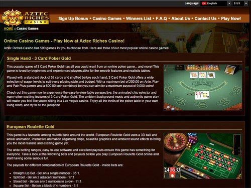 Aztec Riches Casino Games