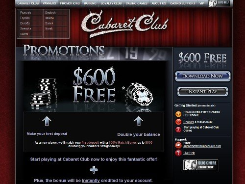 Cabaret Club Casino Promotions