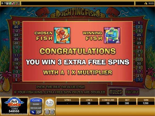 Fighting Fish Slot Bonus Feature Win