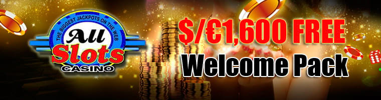 All Slots Casino $/€1,600 Welcome Bonus Package