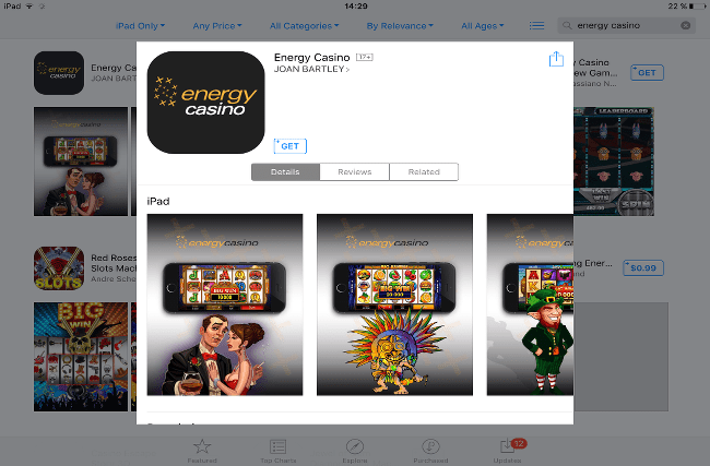 iPad Energy Casino app
