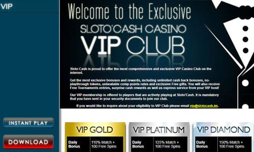 Sloto'Cash Casino VIP Club Page