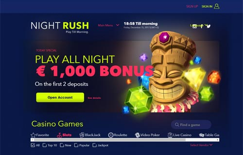 NightRush Casino Home